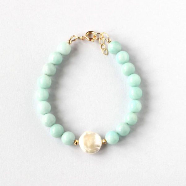 Amazonite Gold Bracelet ILgemstones