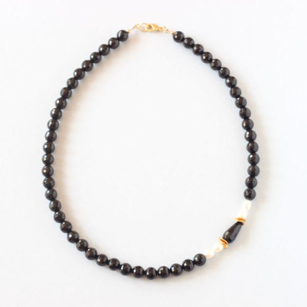 Black Onyx Pearl Necklace ILgemstones Ireland