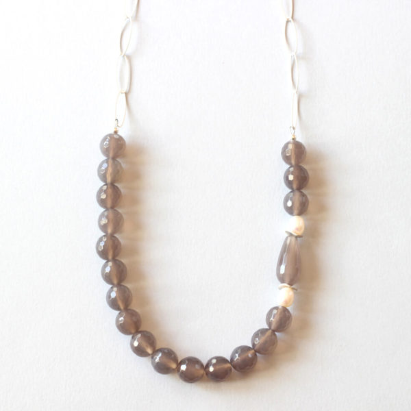 Grey Agate Silver Necklace