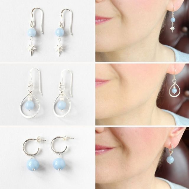 Angelite is a lovely gemstone with a gentle pastel blue colour that compliment the Irish skin quite nicely ✨💫👌. I hope you agree?! The new selection of earrings comes in a variety of styles, something for everyone. #angelite #gemstoneearrings #irishjewellery #irishcraft #irishdesign #ilgemstones