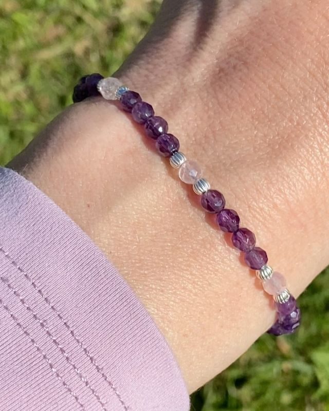Last year's summer collection, an uplifting combination of amethyst & rose quartz 💜🌸. Still very popular 💫. Do you know that amethyst is the most popular purple gemstone?! Purple combines the stability of blue and the energy of red. It is associated with royalty, wisdom and creativity. Find more interesting facts in my blog post. Link in bio. Your Sunday reading sorted 🙌. #amethyst #purplegemstone #amethystjewellery #irishjewellery #ilgemstones #irishcraft #irishdesign #madelocal #gemstonebracelet #purplebracelet #stackingbracelet #styleover40 #fashionover40