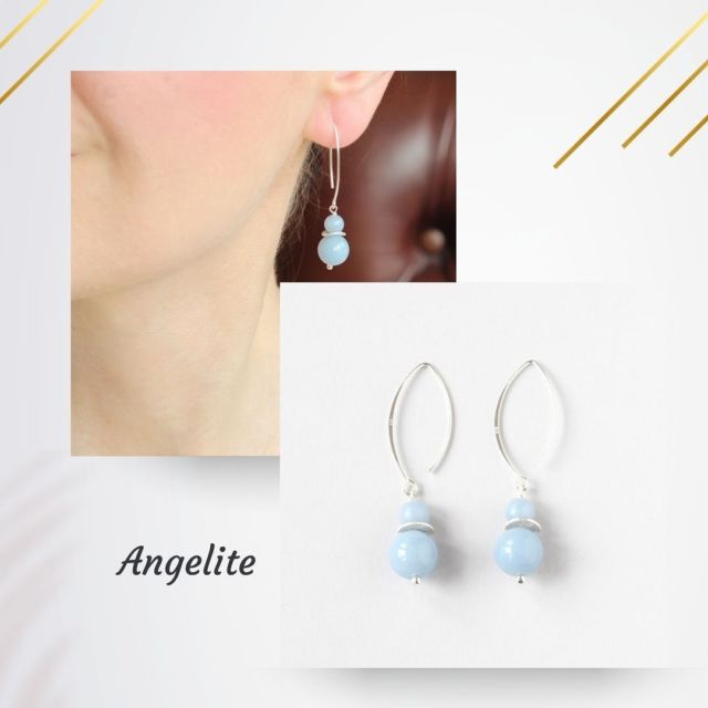 Angelite is a new gemstone for this summer 🌞. It is a lovely pastel blue to add a subtle pop of colour. It is a calming stone that can help ease overwhelming emotions. Angelite invites you to find within the feelings of love and support you are looking outside of yourself. Available @thenarrowspace @irishdesigngallery #angelite #pastelblue #gemstoneearrings #summerjewellery #irishjewellery #irishcraft #madelocal #ilgemstones #handmadeinireland #madeinireland #wearingirish #styleover40 #fashionover40